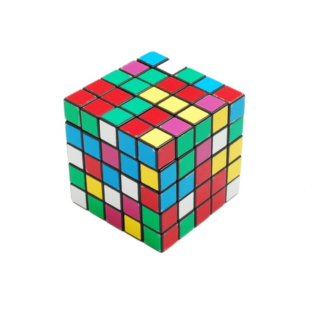 Caransebes, Romania, December, 22nd, 2011 - Rubik cube (scrambled) isolated on white background