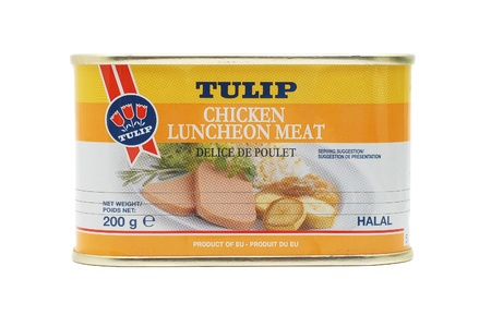 Caransebes, Romania, January, 3rd, 2012 - Tulip can of chicken meat isolated on white Stock Photo - 11729545