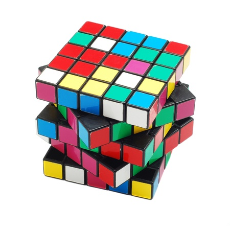 Caransebes, Romania, January, 20th, 2012 - Scrambled Rubik cube isolated on white background