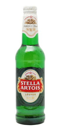 Caranasebes, Romania, January, 29th, 2012 - Stella Artois beer bottle isolated on white