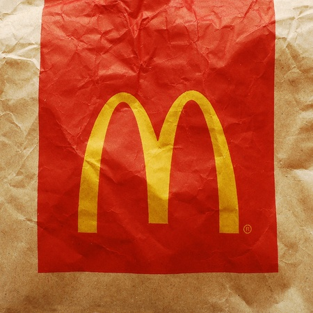 Caransebes, Romania, February, 29th, 2012 - McDonald's sign on a paper bag