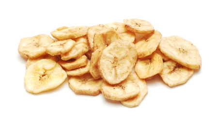 dehydrated: dried banana chips   Stock Photo