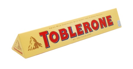 Caransebes, Romania, April, 30th, 2012 - Toblerone chocolate bar isolated on white background