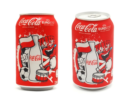 Caransebes, Romania, June, 19th, 2012 - Coca Cola Euro 2012 Poland and Ukraine limited edition cans isolated on white