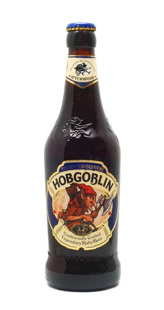 alcoholic beverage: CARANSEBES, ROMANIA - OCTOBER 30, 2012: Bottle of Hobgoblin beer isolated on white background Editorial