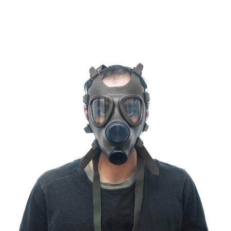 mascara de gas: Hombre con máscara de gas Foto de archivo