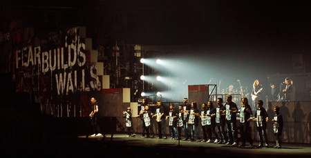 pink floyd: Roger Waters on stage with local kids from Belgrade, Serbia, live on one the most ambitious rock shows ever staged, Pink Floyd Editorial