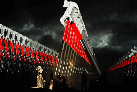 waters: Roger Waters on stage in Belgrade, Serbia, live on one the most ambitious rock shows ever staged, Pink Floyd s The Wall