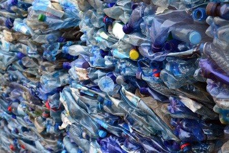 plastic waste:   plastic bottles prepared for recycling