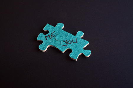love concept, two jigsaw puzzle pieces   photo