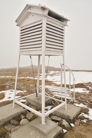 weather station on the top of the mountain photo