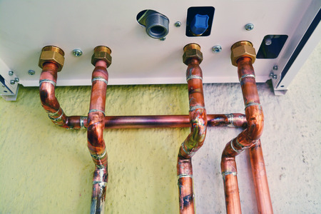copper pipes of a domestic gas boiler system