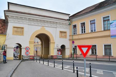 brasov: the famous schei gate in brasov, romania