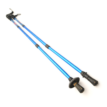 ski walking: trekking poles Stock Photo