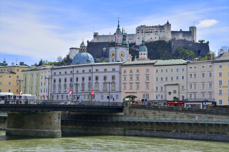 urban landscapes: the old castle upon the old city center in salzburg, austria