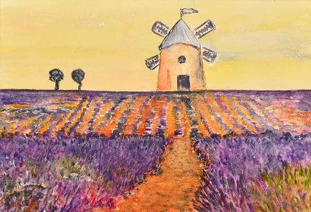 Aquarelle d'un moulin à vent sur un champ de lavande Banque d'images - 83175740