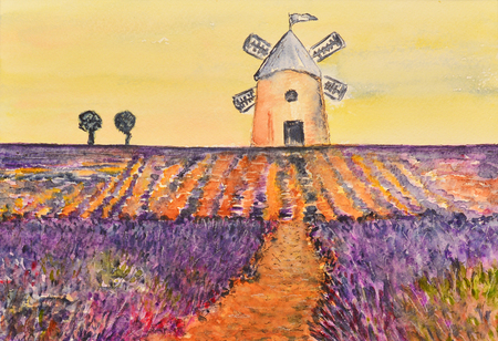 lavender coloured: watercolor painting of a windmill over a lavender field