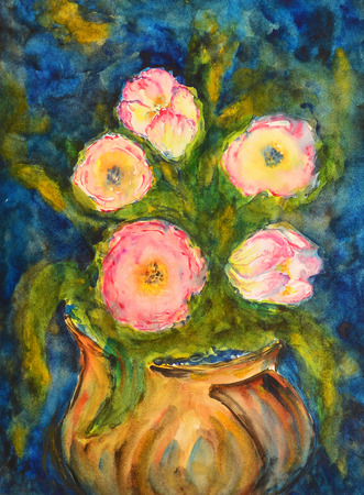 watercolor painting of a pink flower bouquet