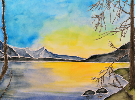 watercolor painting of a lake