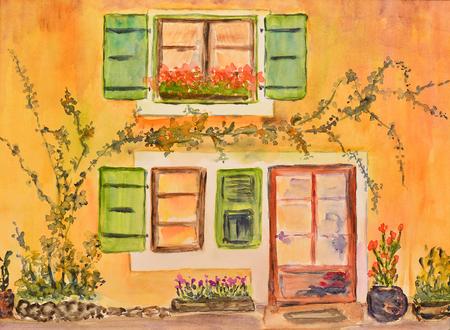 Peinture aquarelle d'une maison en provence Banque d'images - 85118572