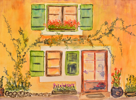 provence: watercolor painting of a house in provence