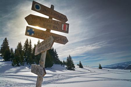 mountain indicator sign