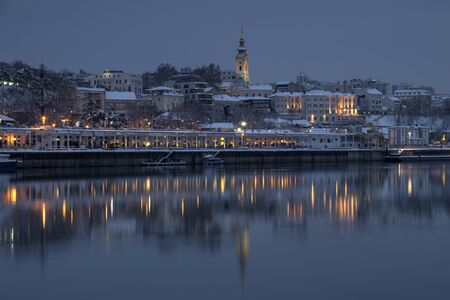 View of the Sava River strand and coastal part of Belgrade at wintry twilight