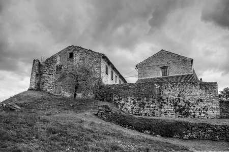 Istria, Croatia - Old stone houses in a medieval town of Hum
