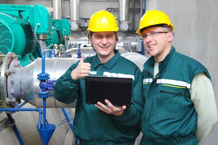 Industrie-arbeiders, teamwork Stockfoto