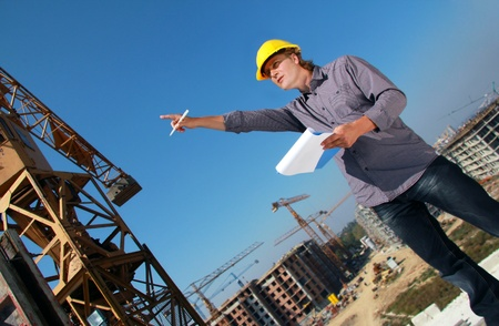 the job site: Manager di costruzione in cantiere Archivio Fotografico