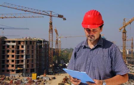 casco rojo: Construcción ingeniero Foto de archivo