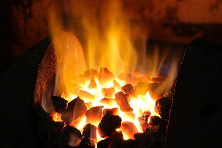 Fire of Coal in Blacksmith Shop Stock Photo - 15576247