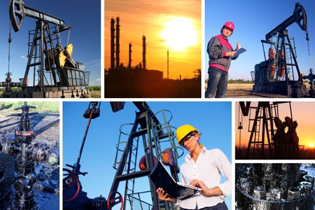 trabajador petroleros: Los trabajadores de un campo petrol�fero, pantalla dividida