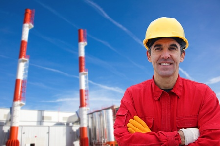 Industrial Worker in Power Plant photo