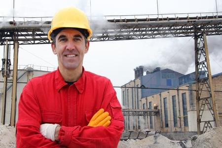 Satisfied industrial worker in a factory