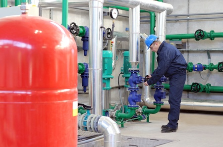 Worker control devices in Heating and Power Plant Stockfoto