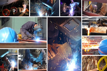 welding worker: Welder at work in metal industry, split screen
