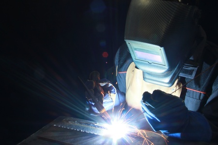 Welder at work in metal industry Stock Photo - 16156100