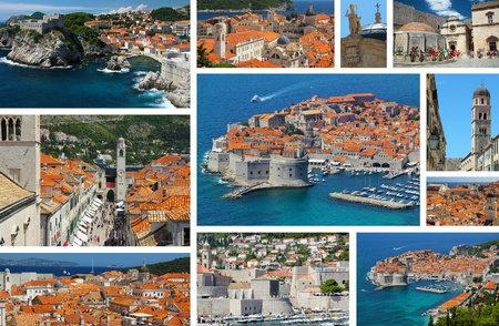 Dubrovnik in Croatia, collage