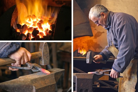 Blacksmith at work - collage photo