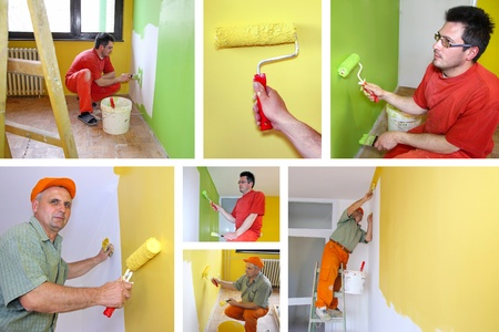 Men Painting walls for interior decoration photo