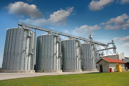 agriculture industrial: Agricultural Silo, Time Lapse  Storage and drying of grains, wheat, corn, soy, sunflower