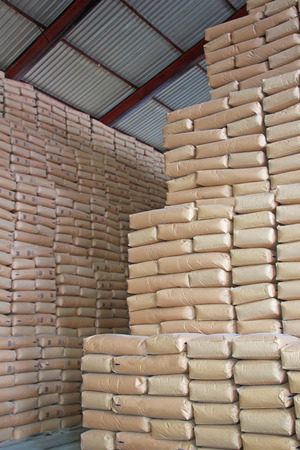 stockroom: Sweet Wall - Sacks of Sugar in a Warehouse Stock Photo