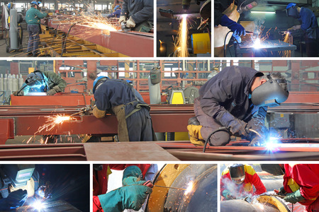 technology collage: Welders in metal industry, collage