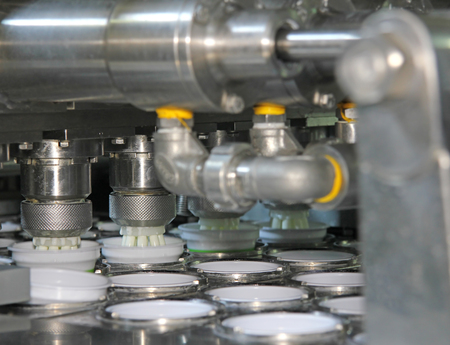 Production of yogurt in a dairy factory, industrial equipment for filling in plastic cups