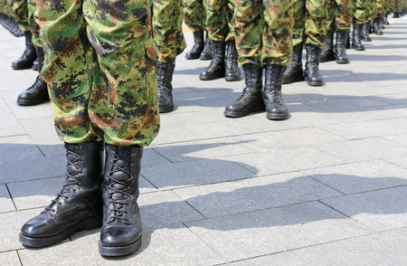 Army, soldiers standing in line Imagens