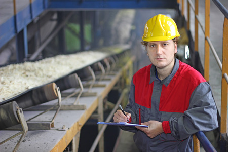 food industry: Worker controlling and writing the result of the quality of chopped sugar beet on conveyor belt in sugar refinery