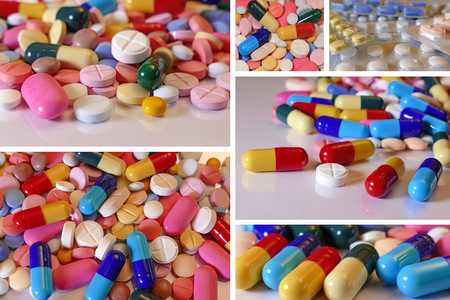 Lots of different medicine drugs, pills, tablets, capsules in collage