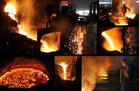 Hard work in the foundry, workers controlling iron smelting in furnaces, too hot and smoky working environment, split screen