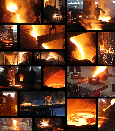 Hard work in foundry, liquid metal in the foundry, melting iron in furnace, steel mill. Workers controlling iron smelting in furnaces, collage